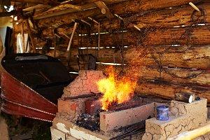 Traditional blacksmith stove