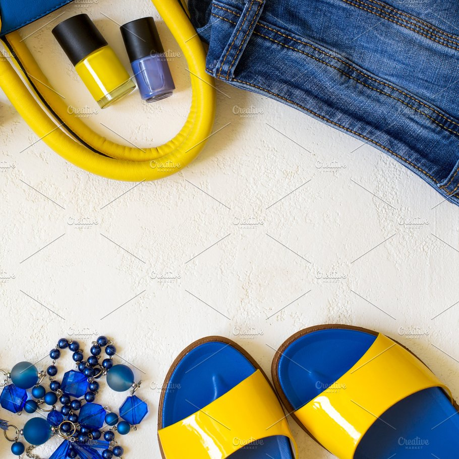 Flat Lay Female Clothing And Accessories In Bright Yellow Blue S Beauty Fashion