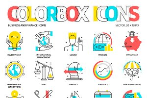 Colorbox icons, business and finance
