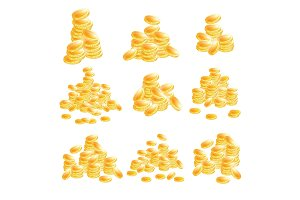 Golden Coins Set Isolated