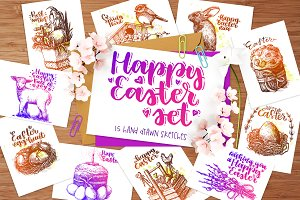 Happy Easter hand drawn sketch set