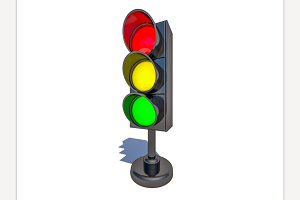 Isolated traffic light.