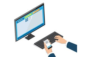 Payment Through Online Banking Website on Monitor