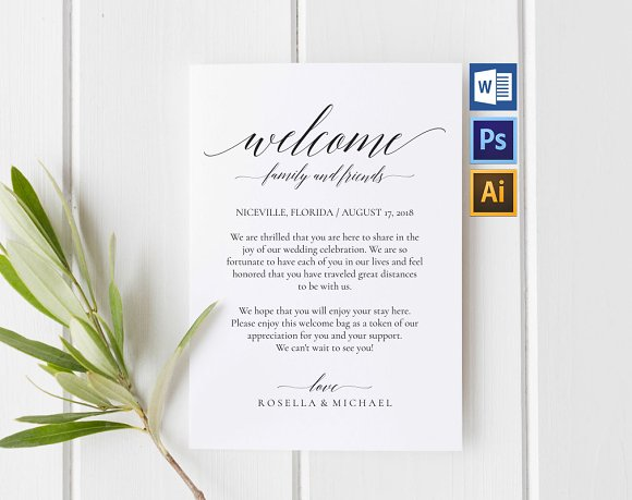Wedding Welcome Bag Note Wpc 109 Invitations