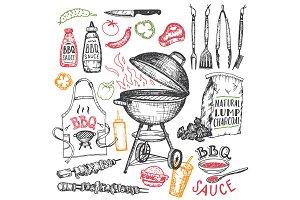 BBQ Hand-drawn Elements Set