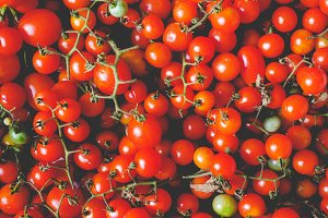 Cherry tomato vegetables, faded vintage look