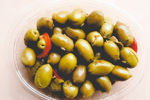 Green olives vegetables, faded vintage look