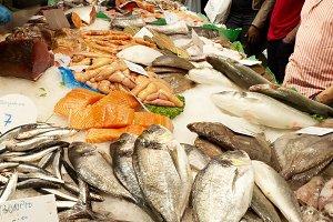 Fish customers at the market.