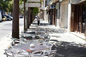Empty street cafe