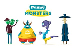 Funny monsters. Cartoon vector illustration.