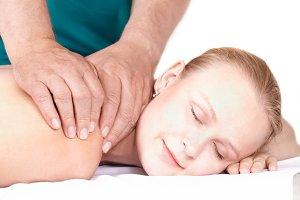 Girl massage, closed eyes.