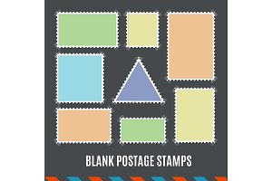 Template Blank Postage Stamps Set.