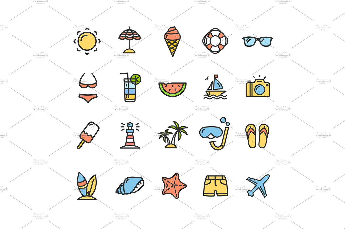 summer icon thin line set vector pre designed illustrator graphics creative market summer icon thin line set vector
