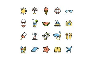Summer Icon Thin Line Set. Vector