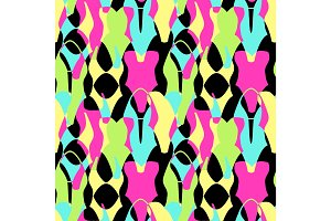 Cute 80s style geometric seamless pattern with neon swimsuits