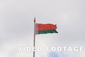 The flag of Belarus flutters in the wind - slowmotion 60fps
