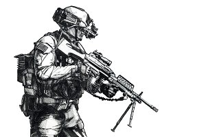 Army Ranger hand drawn picture