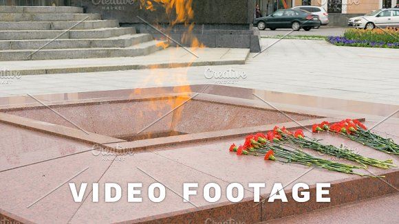 Eternal Flame On The Victory Square In Minsk Belarus Slowmotion 60 Fps