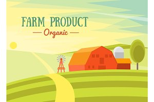 Natural Landscape Farm. Vector