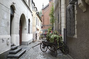 Riga, Latvia. Carriage with flowers.
