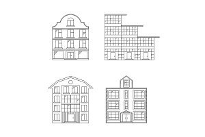 Linear Buildings Set. Vector