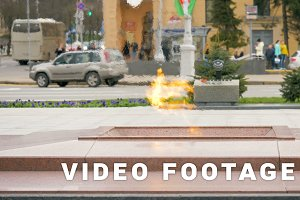 Eternal flame on the Victory Square in Minsk, Belarus - slowmotion 60 fps
