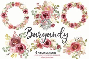 Watercolor Burgundy wreath/arrangeme