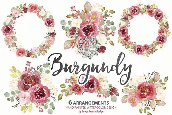 Watercolor Burgundy wreath/arrangem…
