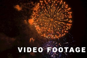 Fireworks in the city, day of Victory - slowmotion 60 fps