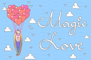 ♥ vector unicorn. Magic Love