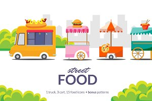 Street Food Truck, Carts and Icons