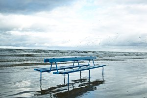 Bench on the beach.