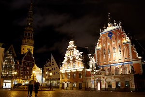 Old Riga at night.