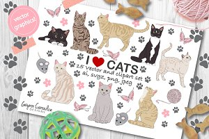 Cats vector & clipart set