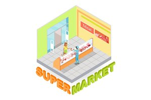 Supermarket Meat Department Isometric Vector