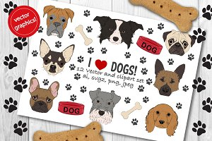 Dogs vector & clipart set