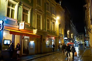 Riga, old city, night life.