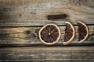 dried citrus on a beautiful wooden background
