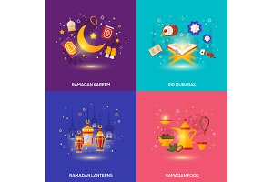 Ramadan Kareem concepts set with flat icons