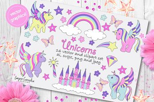 Unicorn vector and clipart set