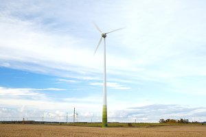 Wind turbine with motion blured