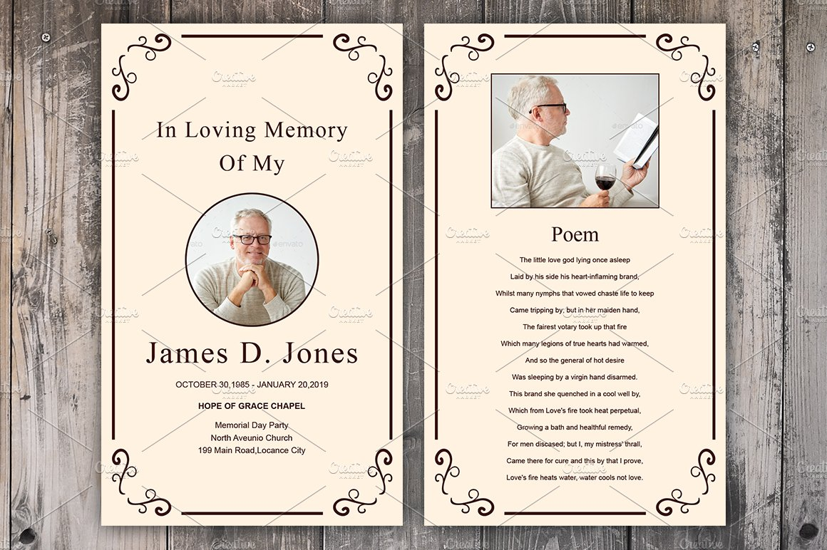 Funeral Prayer Card Template Card Templates Creative Market – Funeral Cards Template