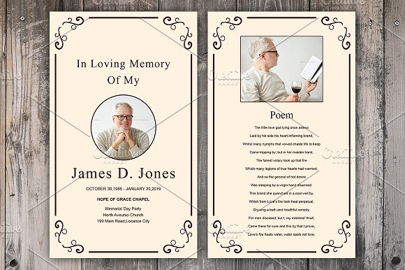 funeral prayer card template card templates creative market. Black Bedroom Furniture Sets. Home Design Ideas