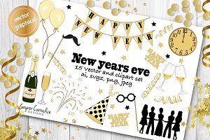 New years vector & clipart set