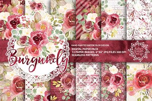 Watercolor Burgundy DP pack