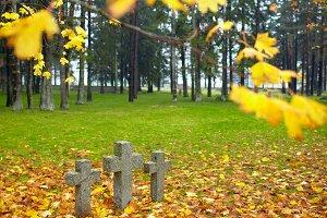 Three tombstone crosses.