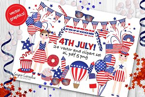 4th July vector clipart set