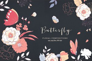 Butterfly - floral compositions
