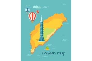 Cartoon Taiwan Map with Taipei Tower Illustration