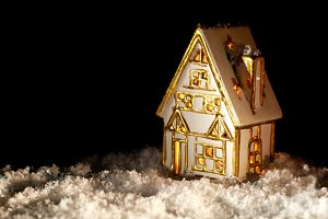 Little toy house covered with